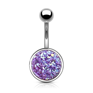 316L Surgical Steel Navel Ring With Druzy Stone Round
