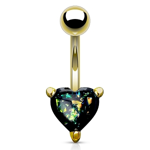 316L Gold Surgical Steel Navel Ring With Opal Glitter Heart