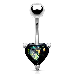 316L Surgical Steel Navel Ring With Opal Glitter Heart