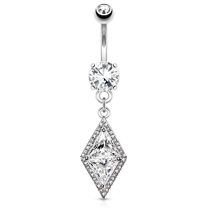 316L Surgical Steel Navel Ring With Clear CZ And Diamond Shaped Clear Dangle