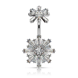316L Surgical Steel Navel Rings With Double Tiered Baguette CZ Flower