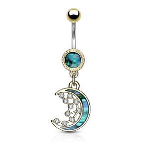 316L Surgical Steel Navel Rings With Mother Of Pearl Inlay Crescent Moon And CZ Dangle