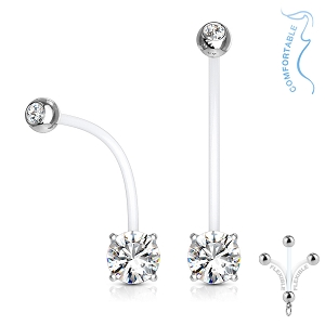 PTFE Pregnancy Navel Rings With Prong Set CZ