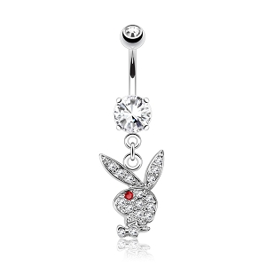 316L Surgical Steel Navel Ring With Gem Paved Playboy Bunny Dangle