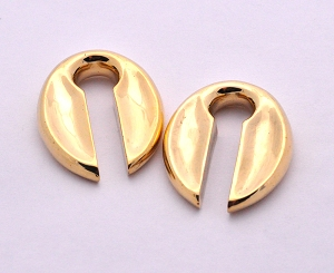 Pair of Concave Oval Brass Keyhole Ear Weights