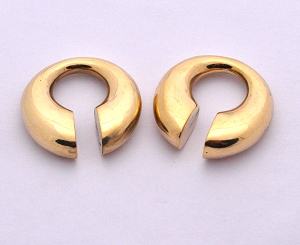 Pair of Round Brass Keyhole Ear Weights