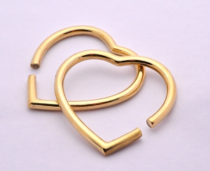 Pair of Large Heart Shaped Brass Ear Weights
