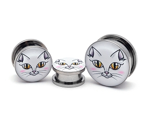 White Cat Face Picture Plugs