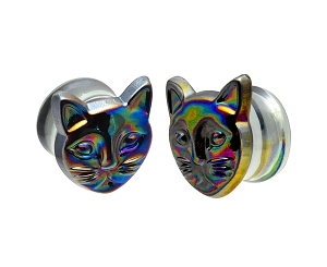 Glass Plugs with Multicolored Iridescent Cat