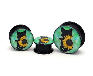 Black Acrylic Sunflower Cat Picture Plugs