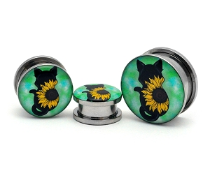 Sunflower Cat Picture Plugs