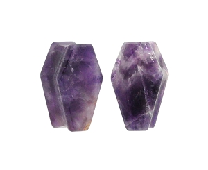 Amethyst Stone Coffin Shaped Double Flare Plugs