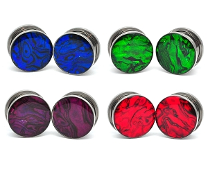 Steel Screw on Colored Abalone Plugs