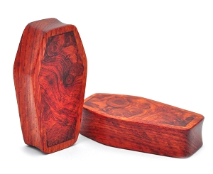 Bloodwood Coffin Plugs with Walnut Burl Inlay