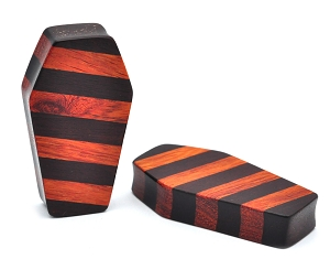 Striped Bloodwood and Raintree Wood Coffin Plugs