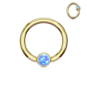 316L Gold Stainless Steel Captive Bead Ring with Flat Cylinder Opal (Sold in Singles)