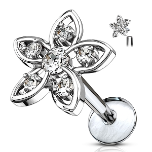 316L Surgical Steel Cartilage/Daith/Ear Ring With CZ Set Flower Top (Sold in Singles)
