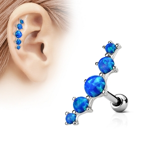 316L Surgical Steel Cartilage/Daith/Ear Ring With Five Opal Set Top (Sold in Singles)