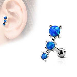316L Surgical Steel Cartilage/Daith/Ear Ring With Triple Opal Prong Set Top (Sold in Singles)