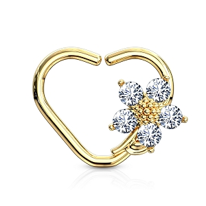 316L Surgical Steel Heart Shaped Cartilage/Daith/Ear Ring With CZ Flower (Sold in Singles)