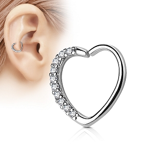 316L Surgical Steel Heart Shaped Cartilage/Daith/Ear Ring With Lined CZ (Sold in Singles)