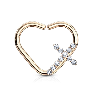 316L Surgical Steel Heart Shaped Cartilage/Daith/Ear Ring With CZ Paved Cross (Sold in Singles)