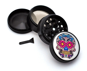 Aluminum Alloy 5-piece Day of the Dead Style 2 Picture Grinder