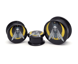 Black Acrylic Death Fly Picture Plugs