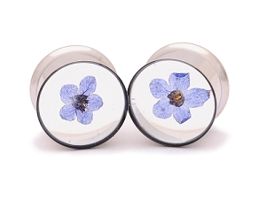 Embedded Forget Me Not Flower Resin Plugs