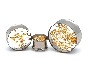Double Flare Plugs with Real Embedded Gold Leaf