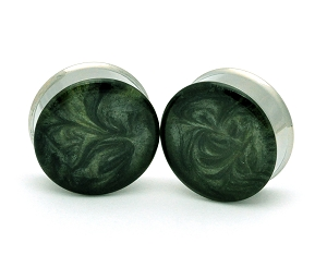 Embedded Plugs with Green and Grey Pearlescent Swirls