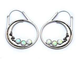 Hoop Earrings with Moon Face and Synthetic Opals