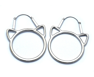 Hoop Earrings with Cutout Kitty Faces