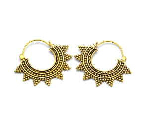 Brass Hoop Earrings with Bali Spiked Ball Beads