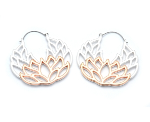 Hoop Earrings with Silver and Rose Gold Lotus
