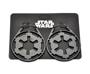 Hoop Earrings with Star Wars Imperial Symbol