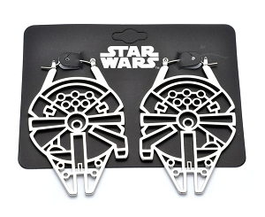 Hoop Earrings with Star Wars Millenium Falcon
