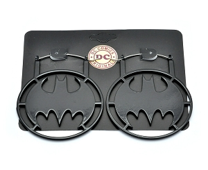 Hoop Earrings with Black Batman Symbol