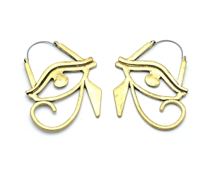 Hoop Earrings with Antique Bronze Eye of Horus