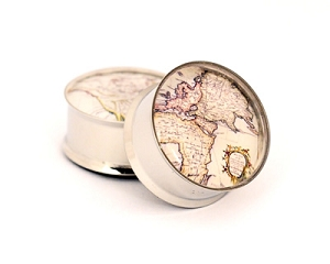 Antique Map Picture Plugs STYLE #2