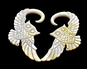 Mother of Pearl Owl Ear Hooks
