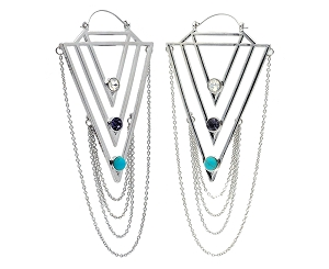 Hoop Earrings with Tiered Chains and 3 Gems