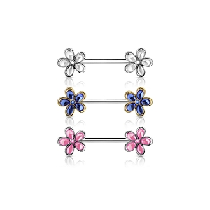 14g Nipple Barbell with Crystal Set Flower Ends (Sold in singles)