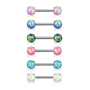 14g Nipple Barbell with Prong Set Synthetic Opal (Sold in singles)