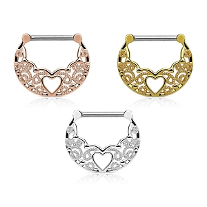 14g Nipple Clicker With Hollow Heart Filigree (Sold in Singles)