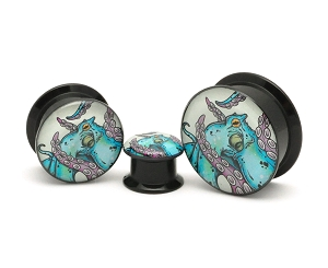 Black Acrylic Octopus Style 2 Picture Plugs