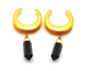 316L Gold Steel Double Flared Saddle Spreader Plugs with Onyx Dangle