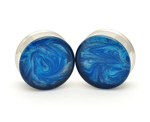 Embedded Plugs with Blue/White Pearlescent Swirls