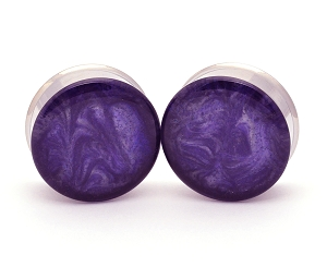 Embedded Plugs with Purple/White Pearlescent Swirls