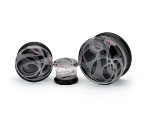 Glass Double Flare Plugs with Light Pink Swirls